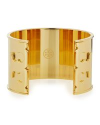 Tory Burch - Metallic Gold Plated Double-t Serif Logo Cuff - Lyst