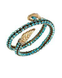 Betsey Johnson | Blue Gold-tone Snake Faceted Bead Coil Bracelet | Lyst