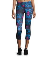 Neiman Marcus - Blue Printed Cropped Leggings - Lyst