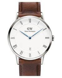 Daniel Wellington | Metallic 'dapper St. Mawes' Leather Strap Watch | Lyst
