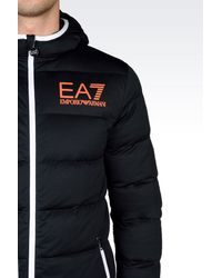 EA7 | Black Down Coat for Men | Lyst