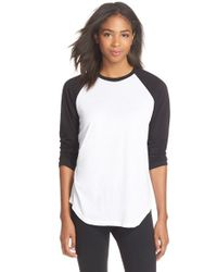 Monrow | Black Supima Cotton Raglan Tee | Lyst