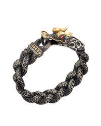 John Hardy | Metallic Mens Naga Braided Dragon Head Bracelet With Ruby for Men | Lyst