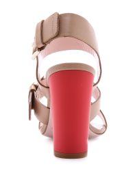 kate spade new york Natural Ibarra Block Heel Sandals - Light Camel/Tomato Red