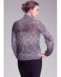 Bebe Gray Print Surplice Shirt