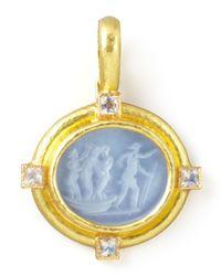 Elizabeth Locke - Metallic Goddess On Boat Intaglio 19k Gold Pendant - Lyst