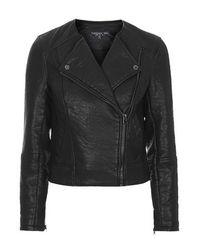 TOPSHOP - Black Tall Collarless Biker Jacket - Lyst