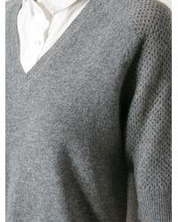 Vanessa Bruno Athé - Gray V-Neck Sweater Dress - Lyst