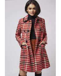 TOPSHOP - Red Tall Vinyl Check Swing Coat - Lyst