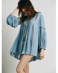 Free People | Blue Babydoll Lace Inset Swing Tunic | Lyst