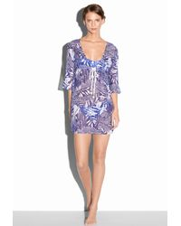 MILLY - Blue Zebra King Ave Drawstring Tunic - Lyst