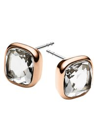 Michael Kors | Metallic Rose Goldtone And Clear Stone Stud Earrings | Lyst