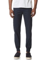 Native Youth Blue Cuffed Cotton Chinos for men