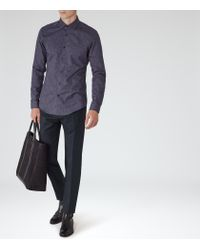 Reiss Blue Noir Melange Weave Shirt for men
