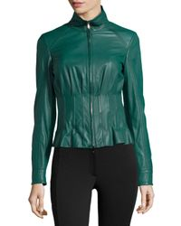 ESCADA | Green Short Mock-Neck Leather Jacket | Lyst