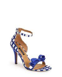 Kay Unger - Blue 'Baroque' Ankle Strap Sandal - Lyst