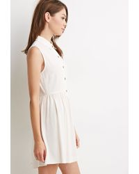 Forever 21 - Natural Buttoned Crepe Collared Dress - Lyst
