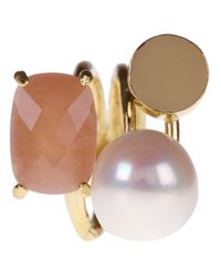 Wouters & Hendrix Multicolor Sunstone and Pearl Ring