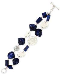 Kenneth Cole | Blue Silver-tone Mixed Shell Bead Two-row Toggle Bracelet | Lyst