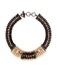 Iosselliani | Black Pyramid Stud Crystal Collar Necklace | Lyst