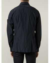 Stone Island - Blue Zip Front Jacket for Men - Lyst