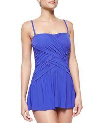 Gottex - Blue Flutter Lattice-Wrap Swim Dress - Lyst
