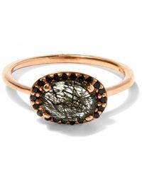 Anna Sheffield | Metallic Blackened Rutilated Quartz And Black Diamond Pavé Amulet Ring | Lyst