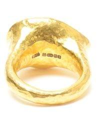 Ram Blue Hammered 22k Gold Aquamarine Ring