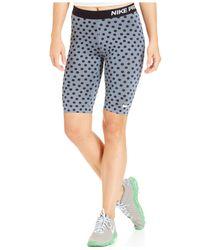Nike Blue Pro Dot-print Dri-fit Knee-length Shorts