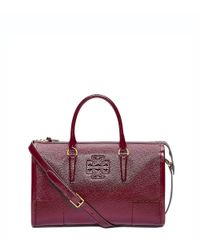 Tory Burch | Red Britten Patent Satchel | Lyst