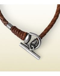 Gucci - Brown Leather Bracelet with Horsebit Toggle Closure for Men - Lyst