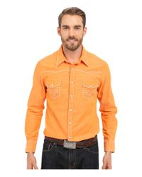 Rock And Roll Cowboy Orange Long Sleeve Snap B2s6287 for men