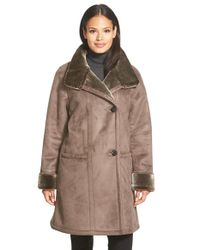 Gallery Brown Stand Collar Faux Shearling Coat
