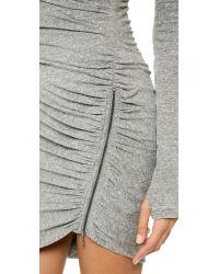 Pam & Gela Gray Twisted Zip Knit Dress - Heather Grey