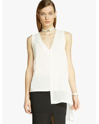Halston White Jersey Georgette Combo Top