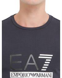 EA7 - Blue Logo Cotton Jersey Long Sleeve T-shirt for Men - Lyst