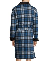 UGG - Blue Manning Plaid Robe With Faux-fur Lining for Men - Lyst