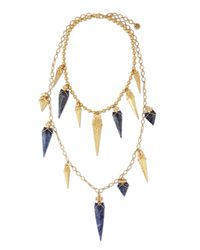 Tory Burch - Blue Arrowhead Double-strand Necklace - Lyst