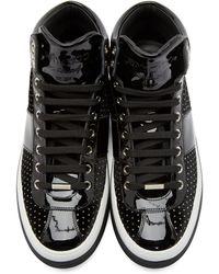Jimmy Choo Black Polka Dot Belgravi High_top Sneakers for men