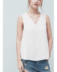 Mango - White Braided Cord Top - Lyst