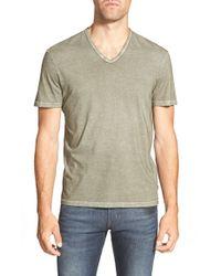 John Varvatos - Green Cotton V-Neck T-Shirt for Men - Lyst
