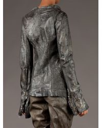 Le Cuir Perdu Gray Embellished Leather Jacket