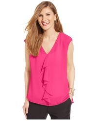 Cece by Cynthia Steffe | Pink Ruffled Blouse | Lyst