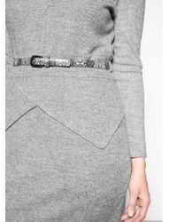 Violeta by Mango Gray Herringbone Jacquard Dress