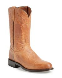Lucchese Brown 'goat Roper - Argyle Stitch' Leather Boot for men