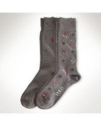Polo Ralph Lauren Gray All Over Bear Sock for men