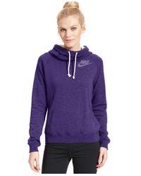 Nike Purple Rally Funnel-Neck Sweatshirt Hoodie