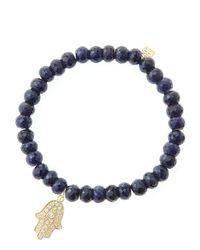 Sydney Evan | Blue 6Mm Faceted Sapphire Beaded Bracelet With 14K Yellow Gold/Diamond Medium Hamsa Charm (Made To Order) | Lyst