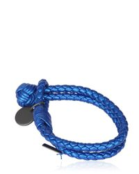 Bottega Veneta | Blue Double Intreccio Metallic Deer Bracelet | Lyst