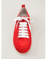 Ann Demeulemeester Red Classic Low-Top Plimsolls